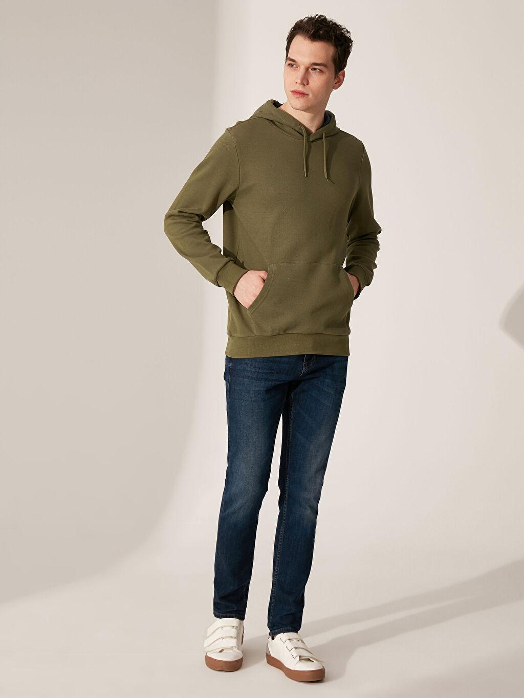 %86 Pamuk %14 Polyester Kapüşonlu Basic Sweatshirt