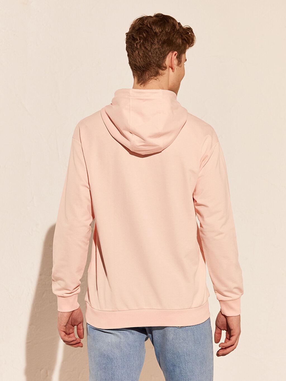 %82 Pamuk %18 Polyester Kapüşonlu Basic Kalın Sweatshirt