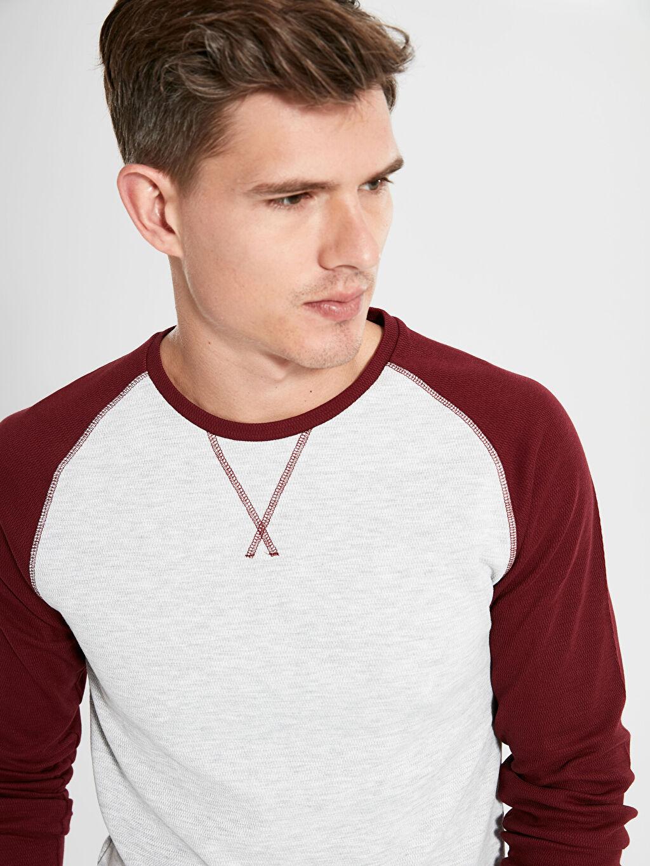 %49 Pamuk %50 Polyester %1 Elastan  Bisiklet Yaka Basic Sweatshirt