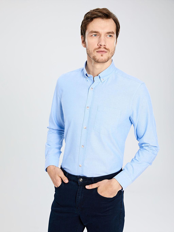%100 Pamuk Gömlek Standart Oxford Uzun Kol Düz Düğmeli Gömlek Yaka %100 Pamuk Orta Kalınlık Regular Fit Basic Gömlek
