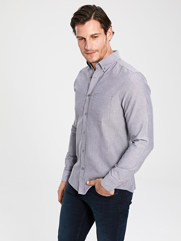%100 Pamuk Gömlek Standart Oxford Uzun Kol Düz Düğmeli Gömlek Yaka %100 Pamuk Regular Fit Basic Gömlek