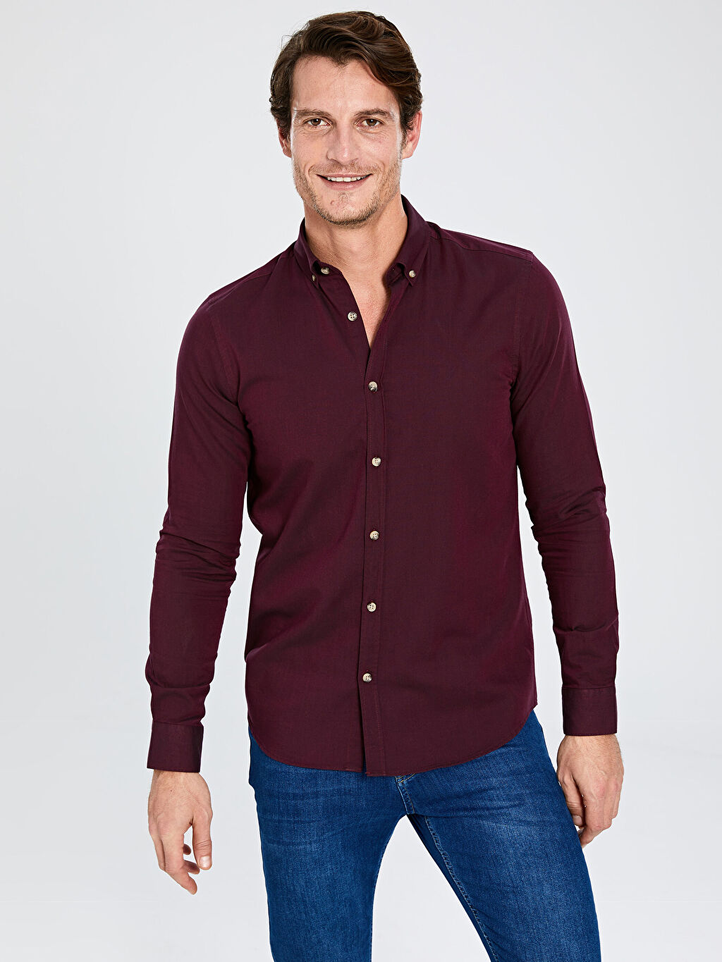 Bordo Slim Fit Basic Gömlek 0S1367Z8 LC Waikiki