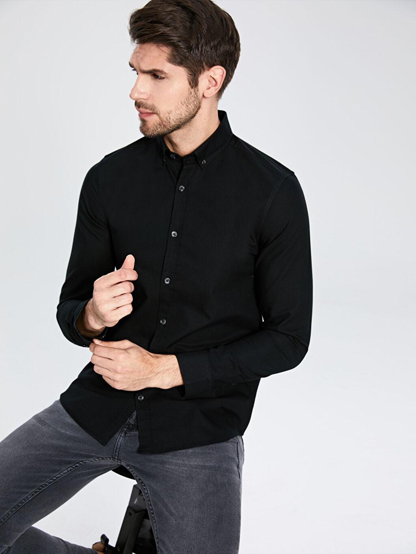 Siyah Slim Fit Basic Gömlek 0S1367Z8 LC Waikiki