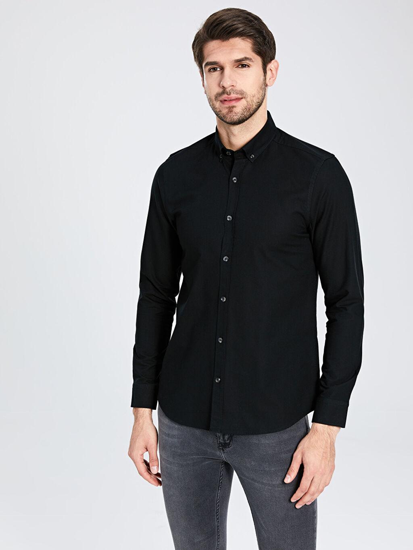 %100 Pamuk Dar Düz Uzun Kol Gömlek Düğmeli Slim Fit Basic Gömlek