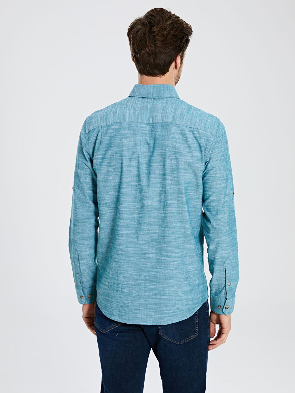 %100 Pamuk Regular Fit Kırçıllı Gömlek