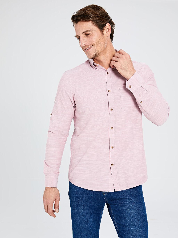 %100 Pamuk Gömlek Standart Uzun Kol Düz Düğmeli Gömlek Yaka Poplin %100 Pamuk Regular Fit Kırçıllı Gömlek