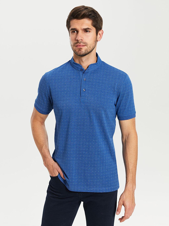 %52 Pamuk %48 Polyester Diğer Standart Baskılı Tişört Kısa Kol Hakim Yaka Desenli Tişört