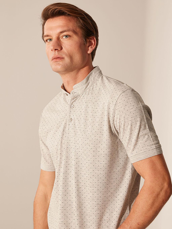 %51 Pamuk %49 Polyester Diğer Standart Baskılı Tişört Kısa Kol %100 Pamuk Hakim Yaka Desenli Tişört