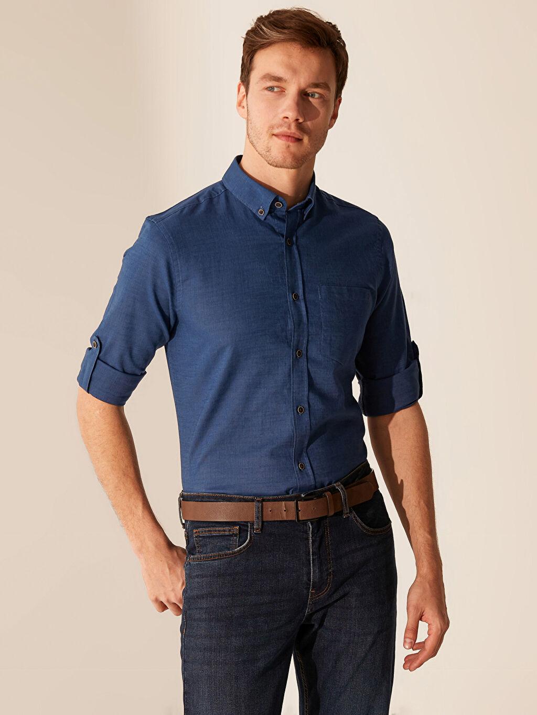Mavi Regular Fit Basic Keten Gömlek 0S1744Z8 LC Waikiki
