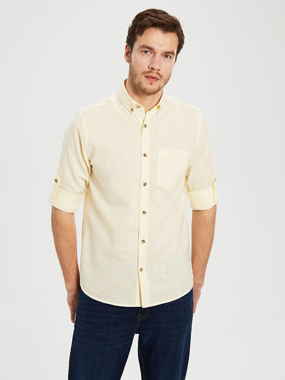 Sarı Regular Fit Uzun Kollu Keten Gömlek 0S1744Z8 LC Waikiki