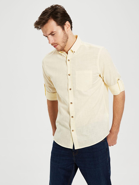 %70 Pamuk %30 Keten Gömlek Standart Keten Uzun Kol Düz Düğmeli Gömlek Yaka %100 Pamuk Regular Fit Uzun Kollu Keten Gömlek