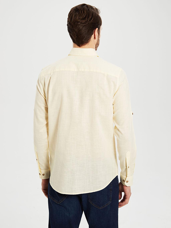 Erkek Regular Fit Uzun Kollu Keten Gömlek