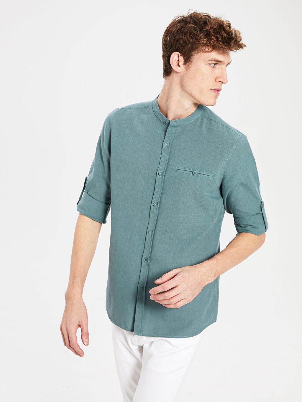 %100 Pamuk İnce Gömlek Gömlek Hakim Yaka Uzun Kol Düz Ekstra Dar Poplin %100 Pamuk Ekstra Slim Fit Pamuklu Gömlek