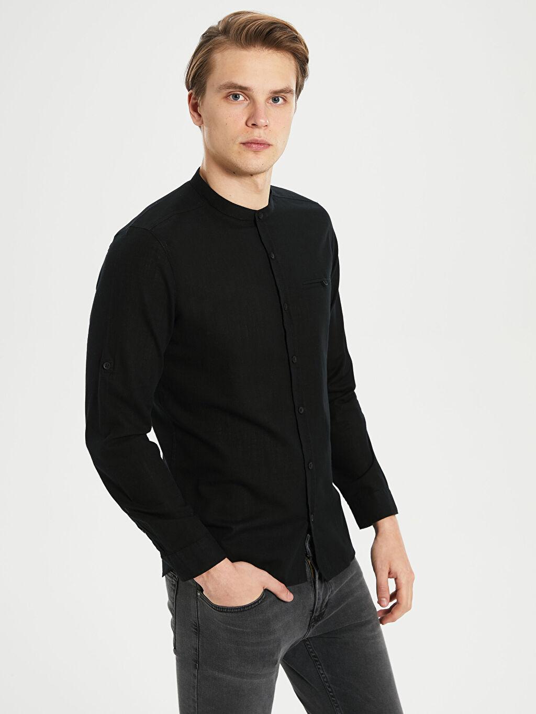 Siyah Ekstra Slim Fit Pamuklu Gömlek 0S1770Z8 LC Waikiki