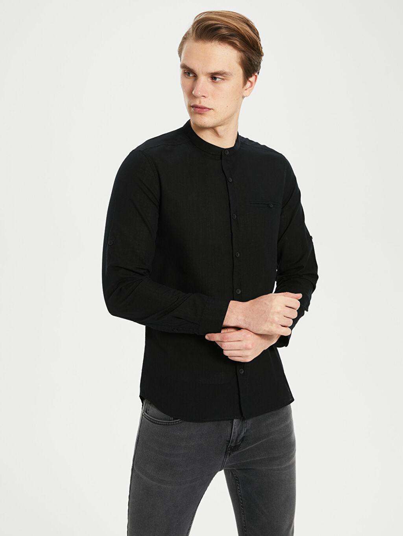 %100 Pamuk Uzun Kol Düz En Dar Gömlek Ekstra Slim Fit Pamuklu Gömlek