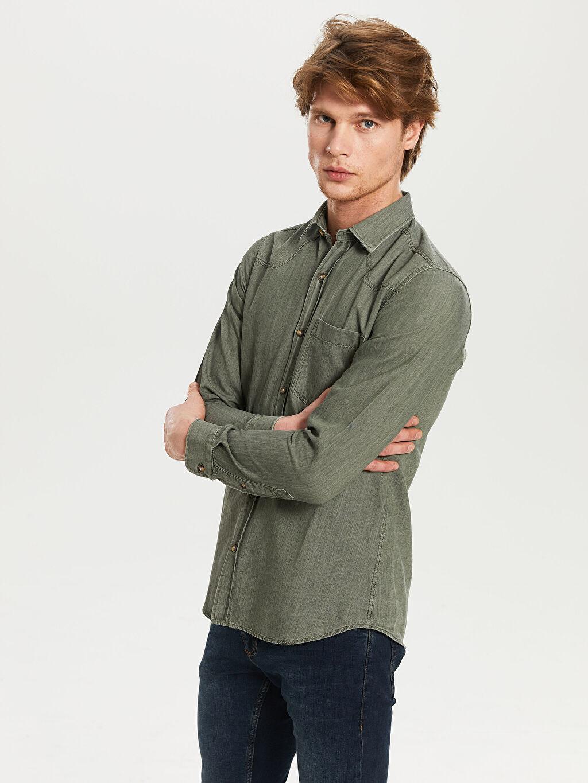 Yeşil Düz Uzun Kollu Gömlek 0S1771Z8 LC Waikiki