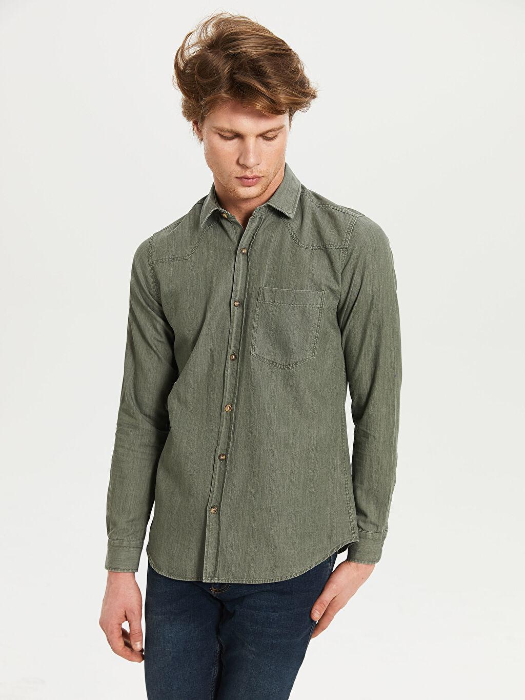 %100 Pamuk Uzun Kol Düz En Dar Gömlek Düğmesiz Düz Uzun Kollu Gömlek