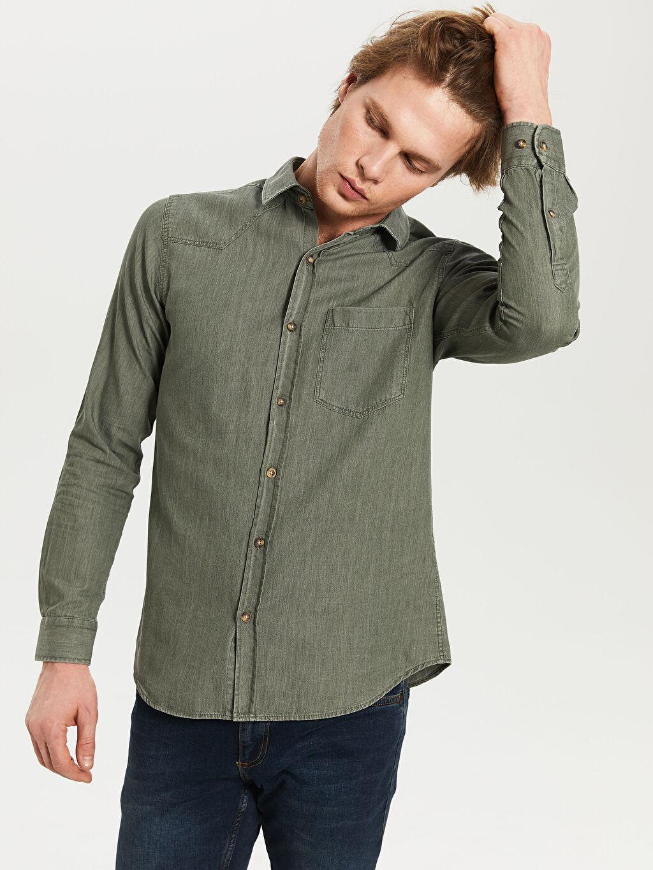 Erkek Düz Uzun Kollu Gömlek