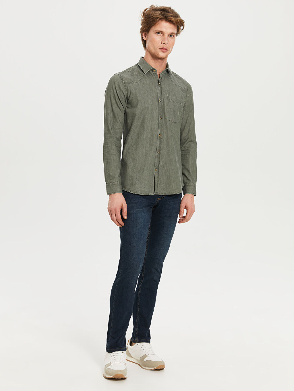 Yeşil Düz Uzun Kollu Gömlek