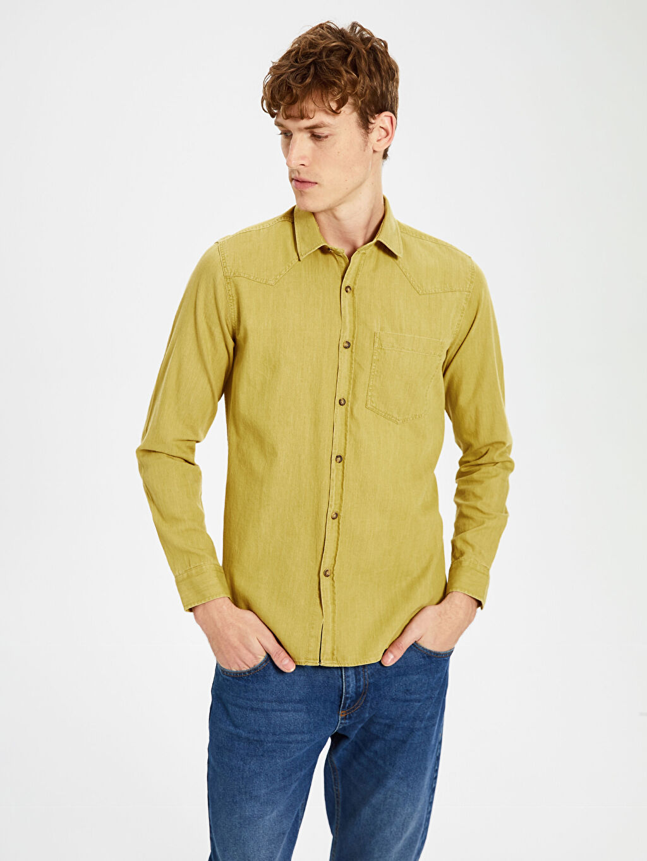 Sarı Düz Uzun Kollu Gömlek 0S1771Z8 LC Waikiki