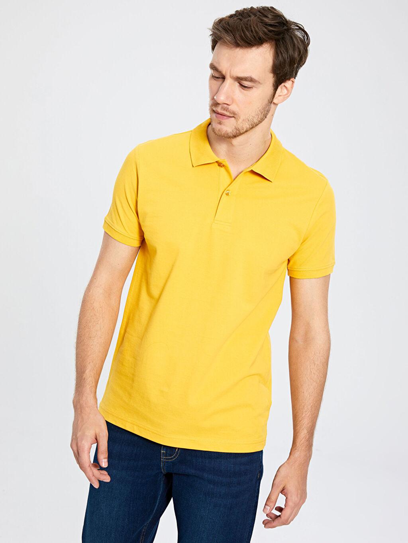 Sarı Polo Yaka Basic Tişört 0S1778Z8 LC Waikiki