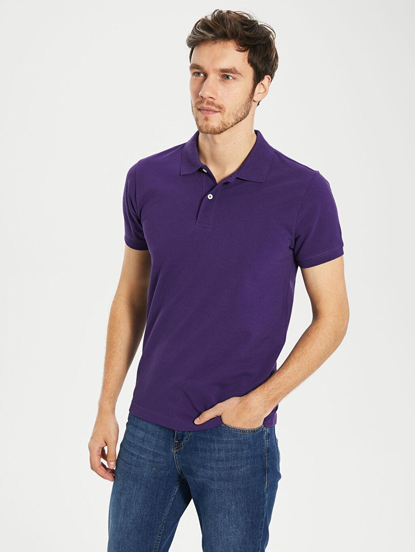 %100 Pamuk Standart Tişört Pike Polo Yaka Kısa Kol Düz Polo Yaka Basic Tişört