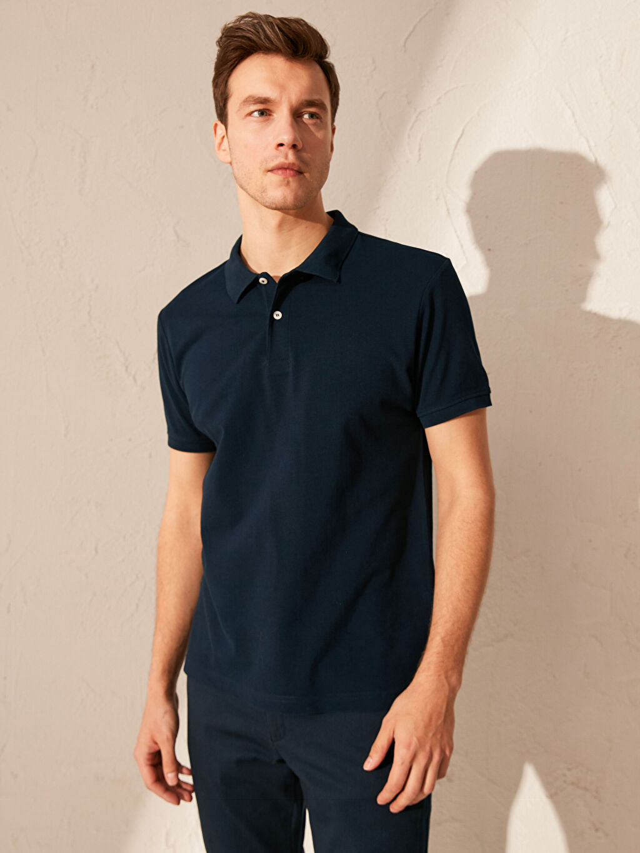 %100 Pamuk Standart Düz Kısa Kol Tişört Polo Polo Yaka Basic Tişört