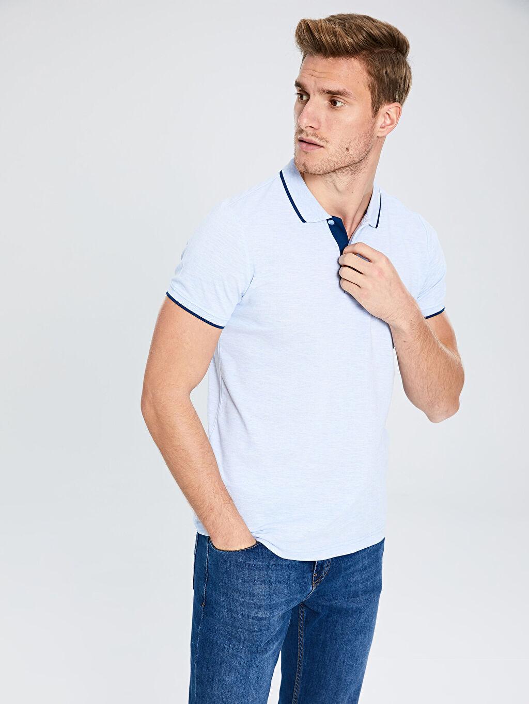 %63 Pamuk %37 Polyester Standart Tişört Pike Polo Yaka Kısa Kol Düz İnce Polo Yaka Basic Kısa Kollu Pike Tişört