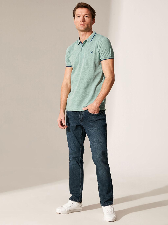 %49 Pamuk %51 Polyester Polo Yaka Basic Kısa Kollu Pike Tişört
