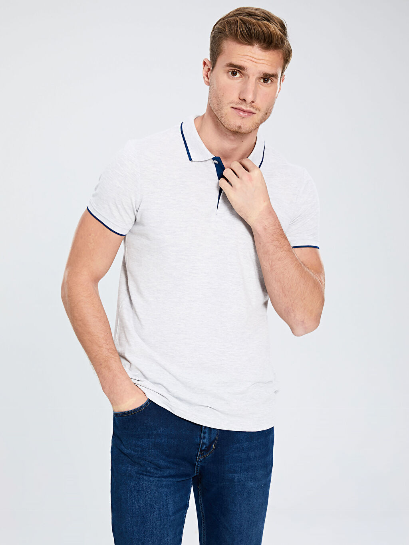 %98 Pamuk %2 Viskon Standart Tişört Pike Polo Yaka Kısa Kol Düz İnce Polo Yaka Basic Kısa Kollu Pike Tişört