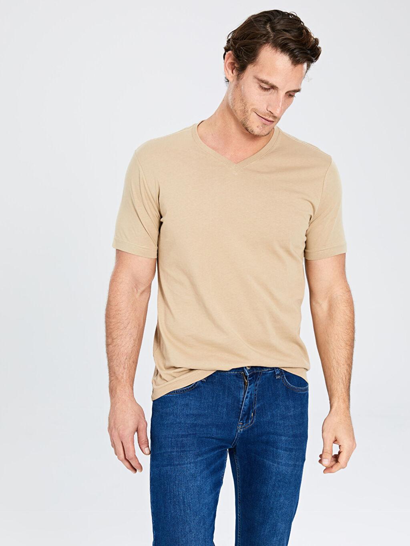 %100 Pamuk Düz Standart Tişört V yaka Kısa Kol V Yaka Basic Tişört