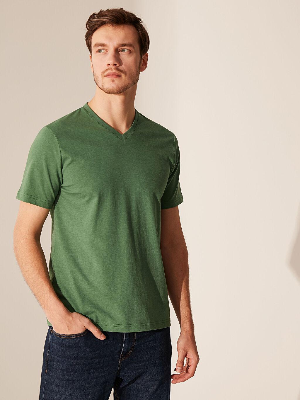 Yeşil V Yaka Basic Tişört 0S1784Z8 LC Waikiki