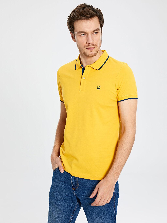 Sarı Polo Yaka Basic Pike Tişört 0S1785Z8 LC Waikiki