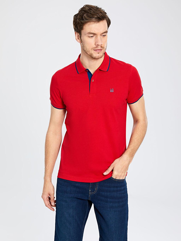 %100 Pamuk Standart Tişört Pike Polo Yaka Kısa Kol Düz Polo Yaka Basic Pike Tişört