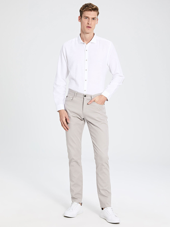 %98 Pamuk %2 Elastan Normal Bel Pilesiz Pantolon Dar Slim Fit Armürlü Pantolon