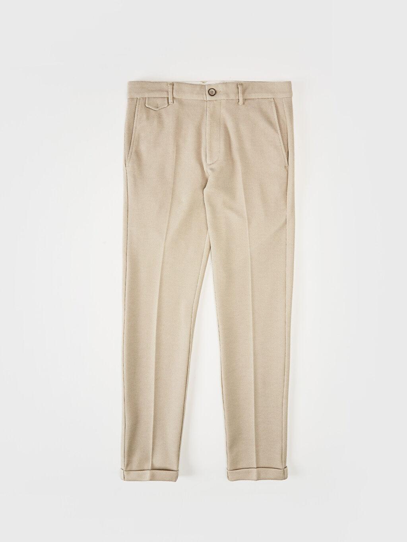 %18 Pamuk %80 Polyester %2 Elastan Dar Normal Bel Pilesiz Pantolon Slim Fit Crop Pantolon