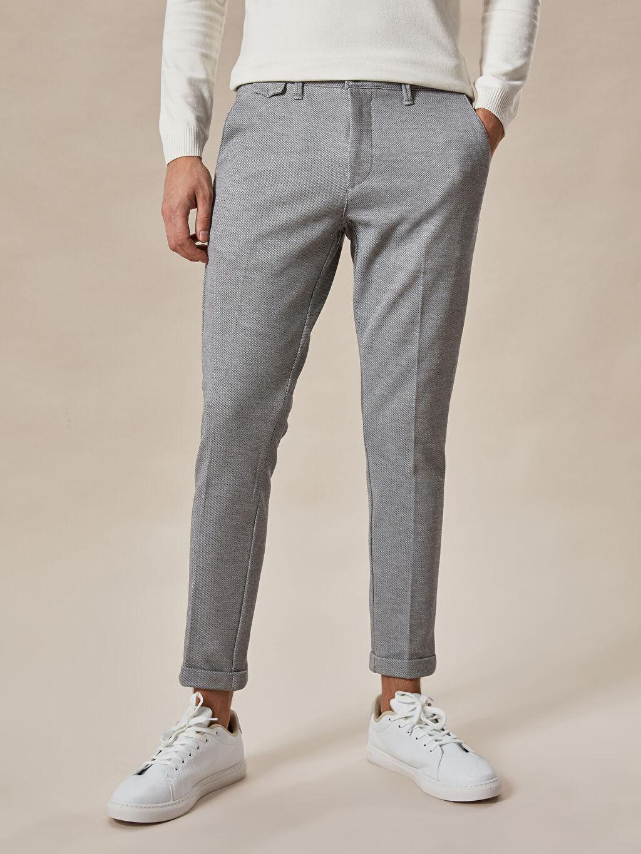 %18 Pamuk %80 Polyester %2 Elastan Slim Fit Crop Pantolon
