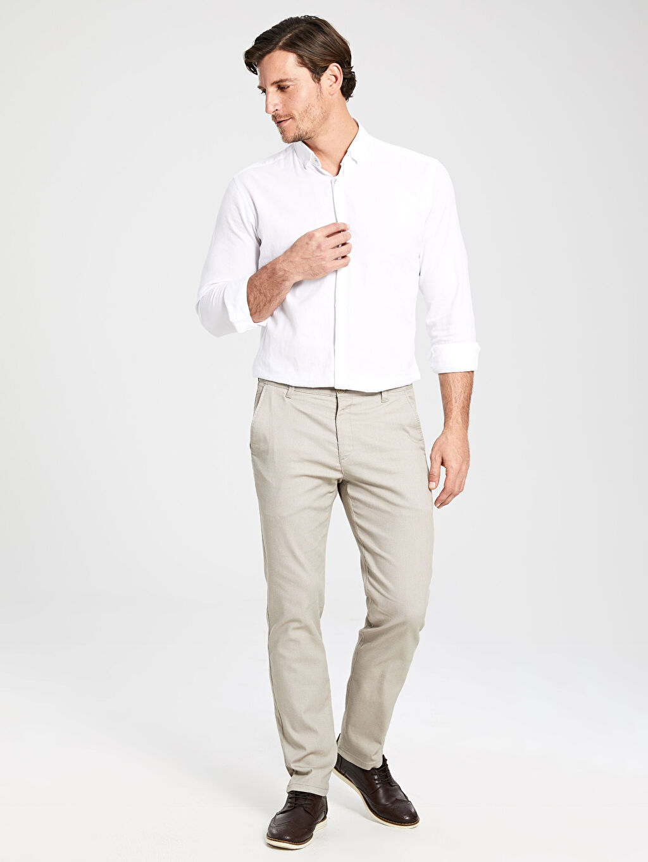 %66 Pamuk %30 Polyester %4 Elastan Pilesiz Pantolon Dar Normal Bel Slim Fit Chino Pantolon