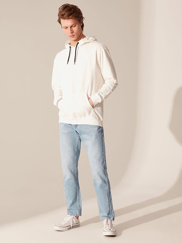 %82 Pamuk %18 Polyester Kapüşonlu Basic İnce Sweatshirt