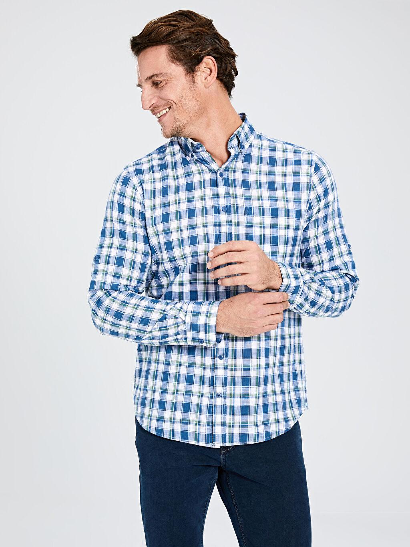 %100 Pamuk Uzun Kol Düğmeli Gömlek Yaka Poplin Gömlek Ekose Standart Patlı %100 Pamuk Regular Fit Ekose Uzun Kollu Poplin Gömlek