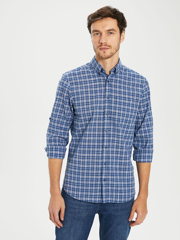 %100 Pamuk Uzun Kol Düğmeli Gömlek Yaka Poplin Gömlek Ekose Standart Patlı Regular Fit Ekose Poplin Gömlek