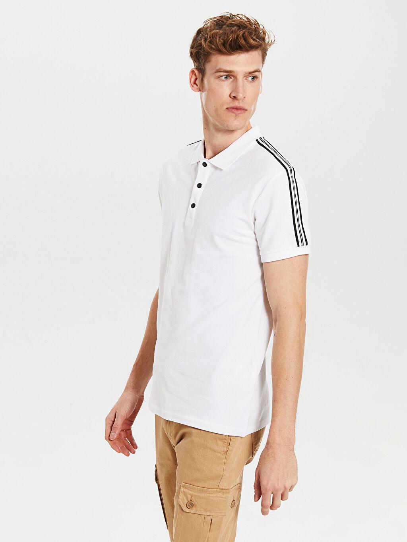 %96 Pamuk %4 Elastan Polo Yaka Kısa Kol Düz Standart Tişört Pike Polo Yaka Şeritli Tişört