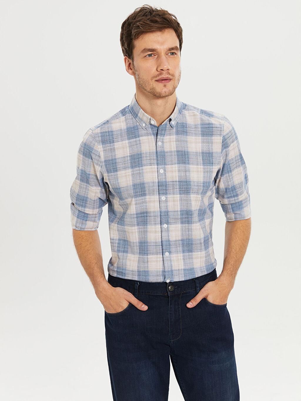 %100 Pamuk Uzun Kol Düğmeli Gömlek Yaka Poplin Gömlek Ekose Dar Patlı %100 Pamuk Slim Fit Ekose Poplin Gömlek