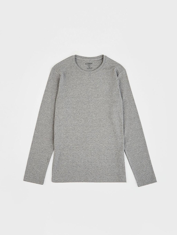 %51 Pamuk %49 Polyester Bisiklet Yaka Basic Uzun Kollu Tişört