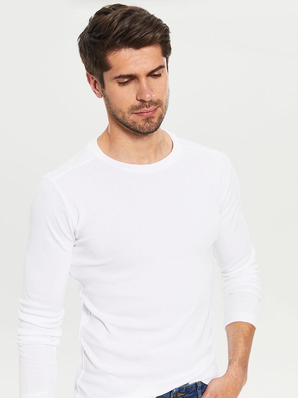 Erkek Bisiklet Yaka Basic Uzun Kollu Tişört