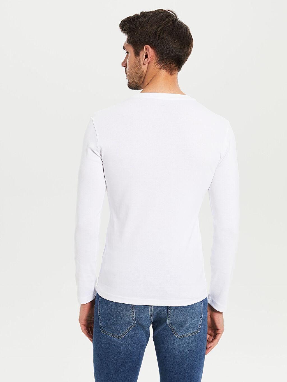 %100 Pamuk Bisiklet Yaka Basic Uzun Kollu Tişört