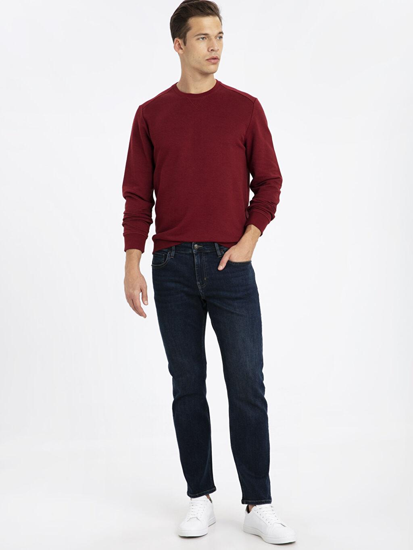 %83 Pamuk %17 Polyester İki İplik Sweatshirt Bisiklet Yaka Uzun Kol Bisiklet Yaka Basic Sweatshirt
