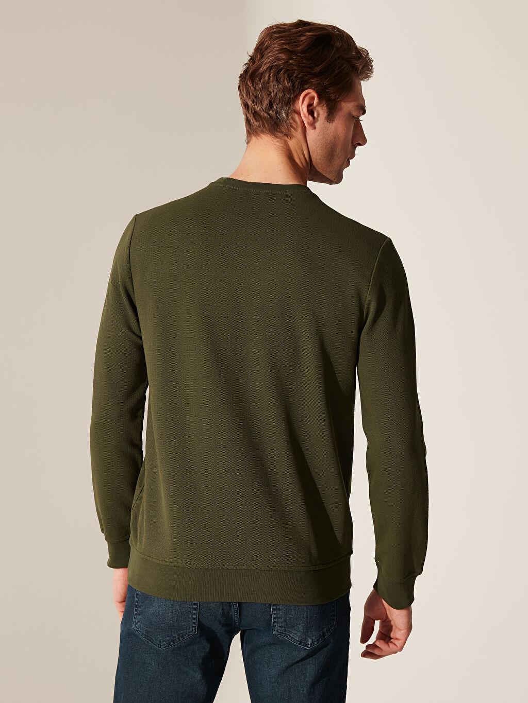 %44 Pamuk %56 Polyester Bisiklet Yaka Basic Sweatshirt