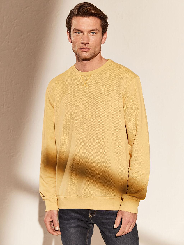 %44 Pamuk %54 Polyester %2 Viskoz İki İplik Sweatshirt Bisiklet Yaka Uzun Kol Bisiklet Yaka Basic Sweatshirt