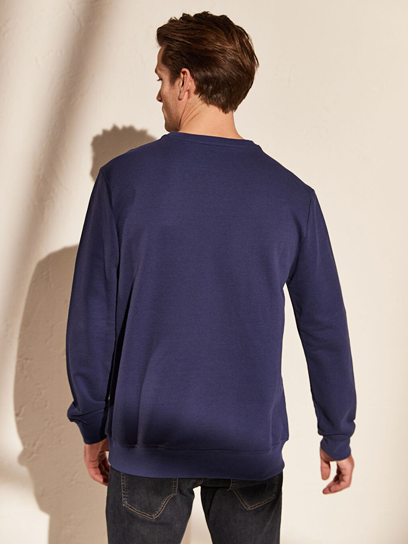 Erkek Bisiklet Yaka Basic Sweatshirt